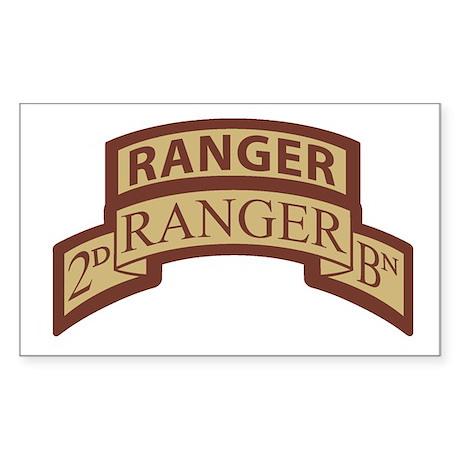 2nd Ranger Bn Scroll/Tab Dese Rectangle Sticker
