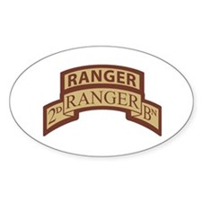 2nd Ranger Bn Scroll/Tab Dese Oval Decal