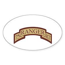 75th Ranger Regt Scroll Deser Oval Decal