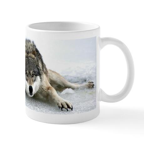 Marion Splits On Ice Wolf Mug