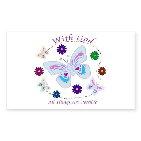With God All Things Are Possible Sticker (Rectangl