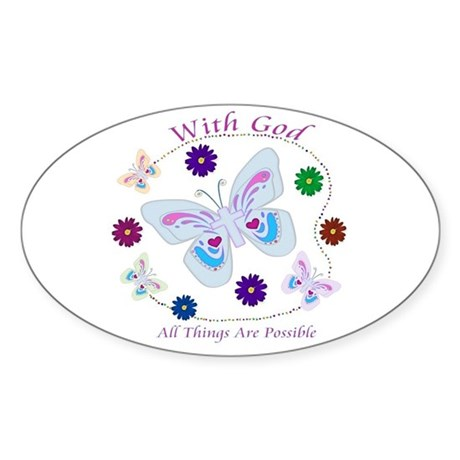 With God All Things Are Possible Oval Sticker