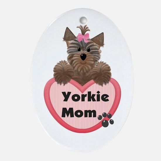 Yorkie Mom Oval Ornament