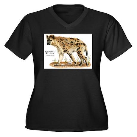 Spotted Hyena Women's Plus Size V-Neck Dark T-Shir