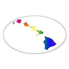 Rainbow Hawaii Oval Decal