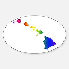 Rainbow Hawaii Oval Decal