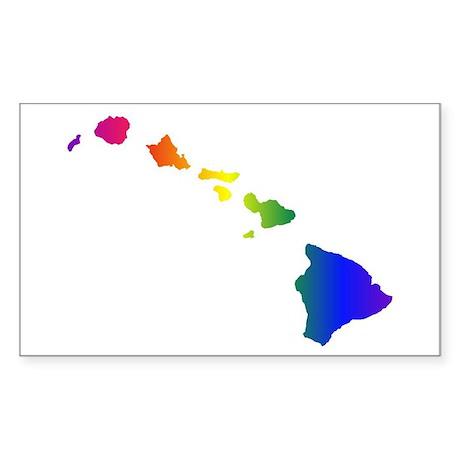Rainbow Hawaii Rectangle Sticker