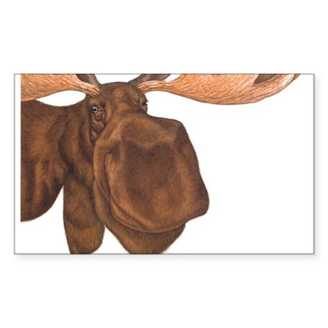 moose head antlers Rectangle Sticker