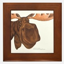 moose head antlers Framed Tile