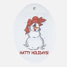 red hat hatty holidays Oval Ornament