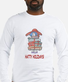 red hat hatty holidays Long Sleeve T-Shirt