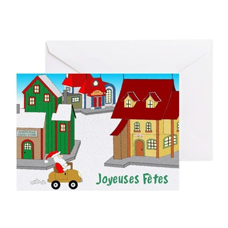 Downtown Santa - french Greeting Cards (Pk of 10)