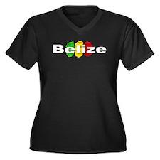 Belizean Women's Plus Size V-Neck Dark T-Shirt