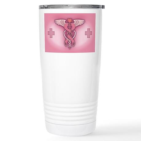 Pink Ribbon Caduceus Stainless Steel Travel Mug