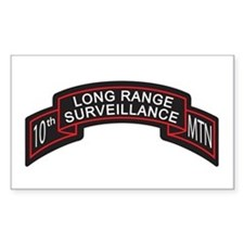 10th Mountain LRS Scroll, Clr Rectangle Decal