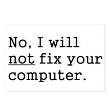No, I Will Not Fix Your Computer Postcards (Packag
