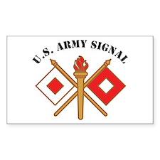 Signal Branch Insignia U.S. A Sticker (Rectangular