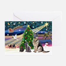 XmsMagic-GShep-2cats Greeting Cards (Pk of 20)