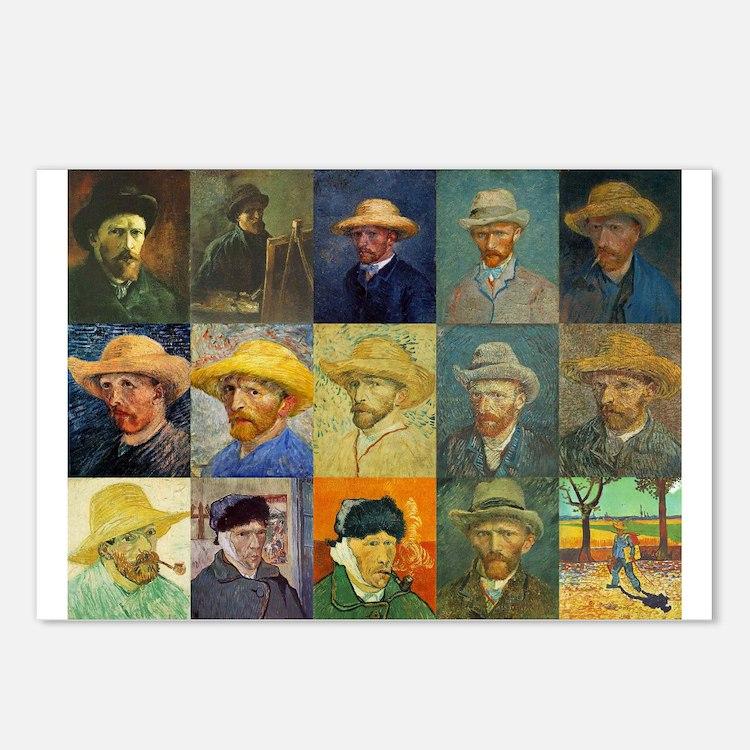 van Gogh Self Portraits Montage Postcards (Package