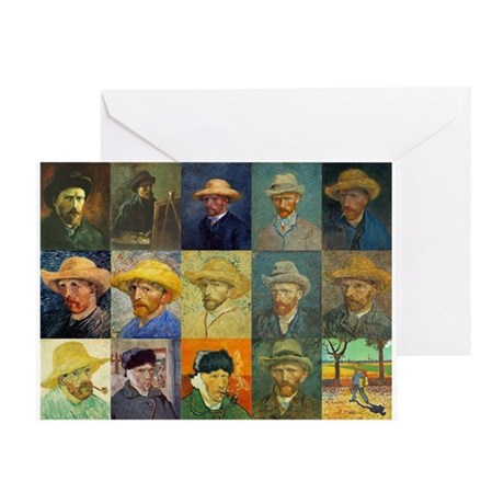 van Gogh Self Portraits Montage Greeting Card