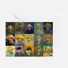 van Gogh Self Portraits Montage Greeting Cards (Pk