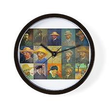 van Gogh Self Portraits Montage Wall Clock