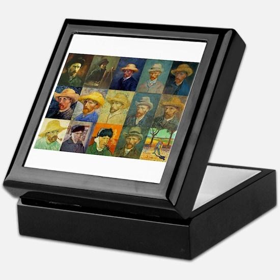 van Gogh Self Portraits Montage Keepsake Box