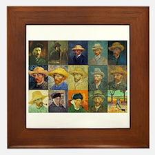 van Gogh Self Portraits Montage Framed Tile