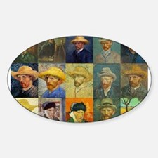 van Gogh Self Portraits Montage Oval Decal