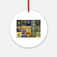 van Gogh Self Portraits Montage Ornament (Round)
