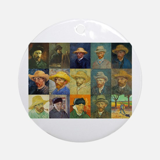 van Gogh Self Portraits Montage Ornament (Round)