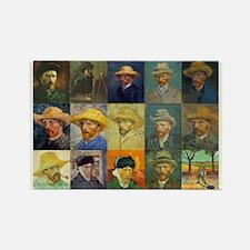 van Gogh Self Portraits Montage Rectangle Magnet (