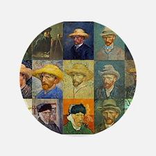 "van Gogh Self Portraits Montage 3.5"" Button"
