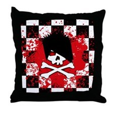Emo Skull Throw Pillow