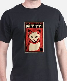 Obey the Kitty! White Cat - T-Shirt