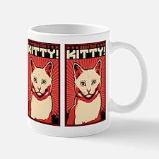 Obey the Kitty! WHITE CAT Propaganda Mug