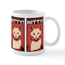 Obey the Kitty! WHITE CAT Propaganda Small Mug