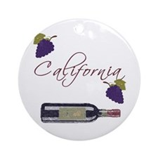 California Wine Ornament (Round)