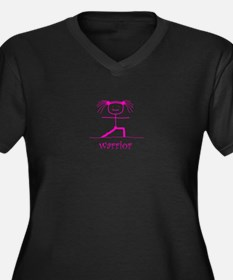 Warrior (Pink): Women's Plus Size V-Neck Dark T-Sh