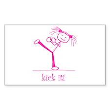 kick it! (pink) Rectangle Decal
