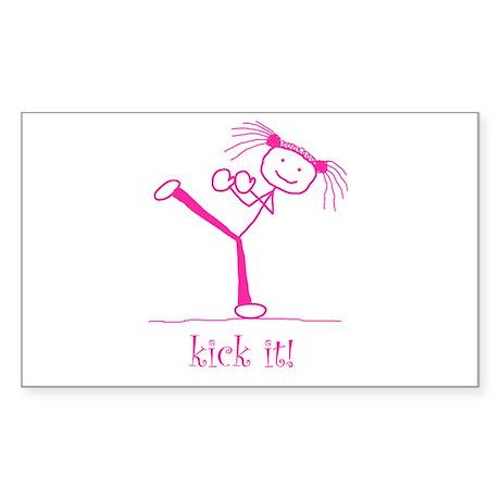 kick it! (pink) Rectangle Sticker