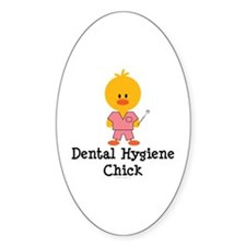 Dental Hygiene Chick Oval Decal