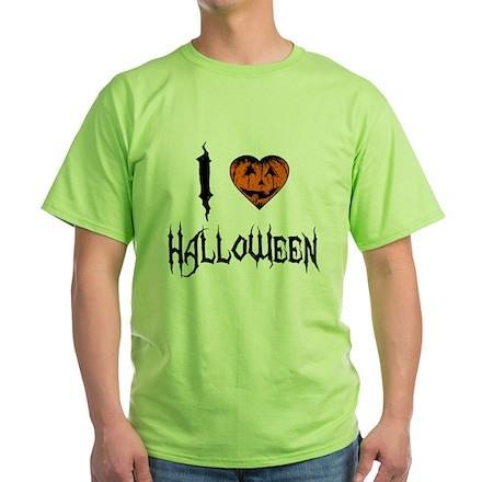 I Love Halloween Green T-Shirt