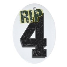 #4 Brett Favre Funeral RIP Oval Ornament