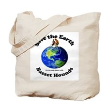 Bassett Hounds Save Earth Tote Bag