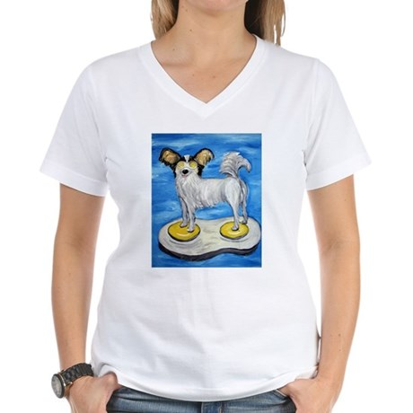 papillion on an egg Women's V-Neck T-Shirt