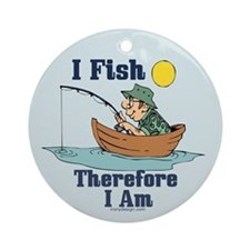 I Fish, Therefore I Am Ornament (Round)