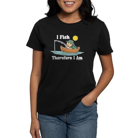 I Fish, Therefore I Am Women's Dark T-Shirt