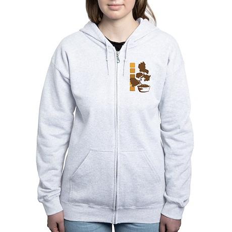 Juniper Bonsai (Brown) Women's Zip Hoodie