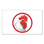 Rooster Circle Rectangle Sticker 10 pk)